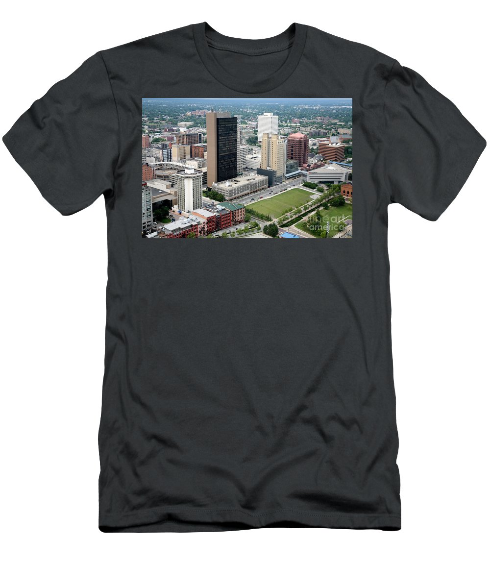 Hcr Manor Care Men's T-Shirt (Athletic Fit) featuring the photograph Fiberglass Tower Toledo Ohio by Bill Cobb
