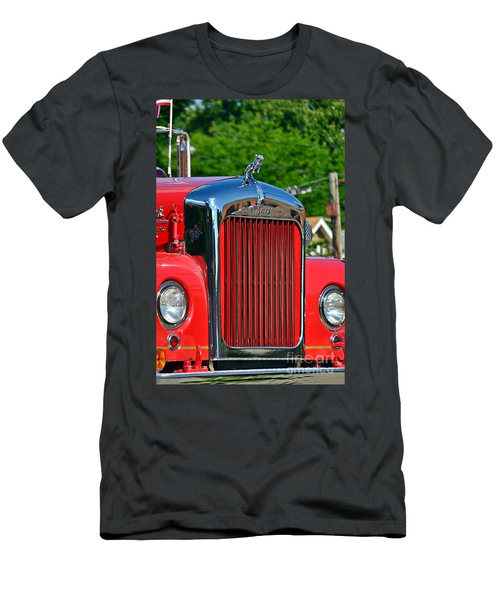 Fire Truck Men's T-Shirt (Athletic Fit) featuring the photograph Fie Truck by Randy J Heath