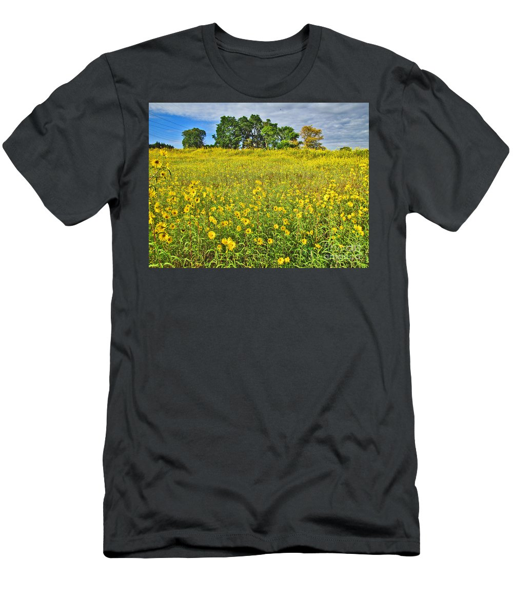 Flowers Men's T-Shirt (Athletic Fit) featuring the photograph Field Of Flowers by Minding My Visions by Adri and Ray