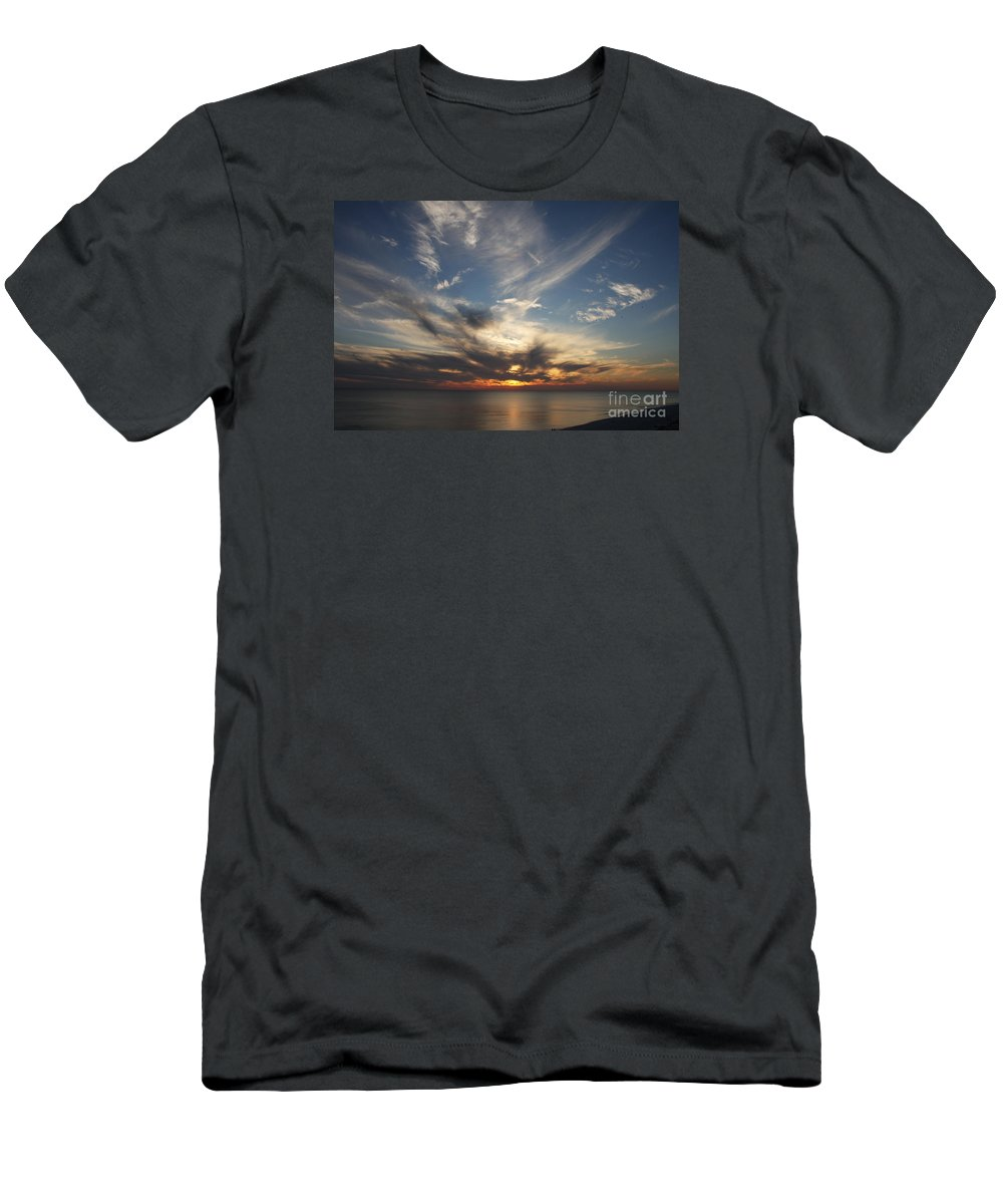 Sunset Men's T-Shirt (Athletic Fit) featuring the photograph Fiery Sunset Skys by Christiane Schulze Art And Photography