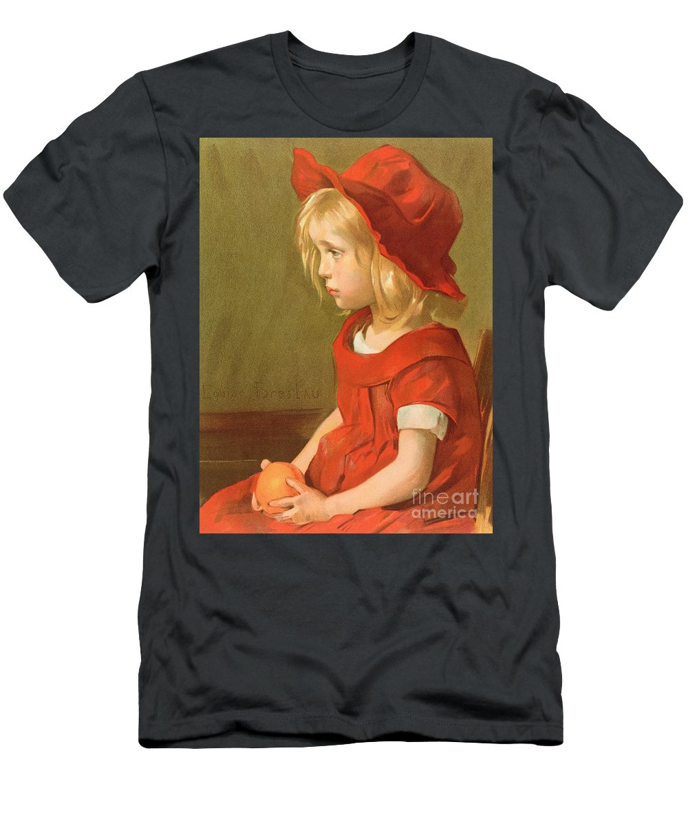 Child Men's T-Shirt (Athletic Fit) featuring the painting Fillette A Lorange by Marie Louise Catherine Breslau