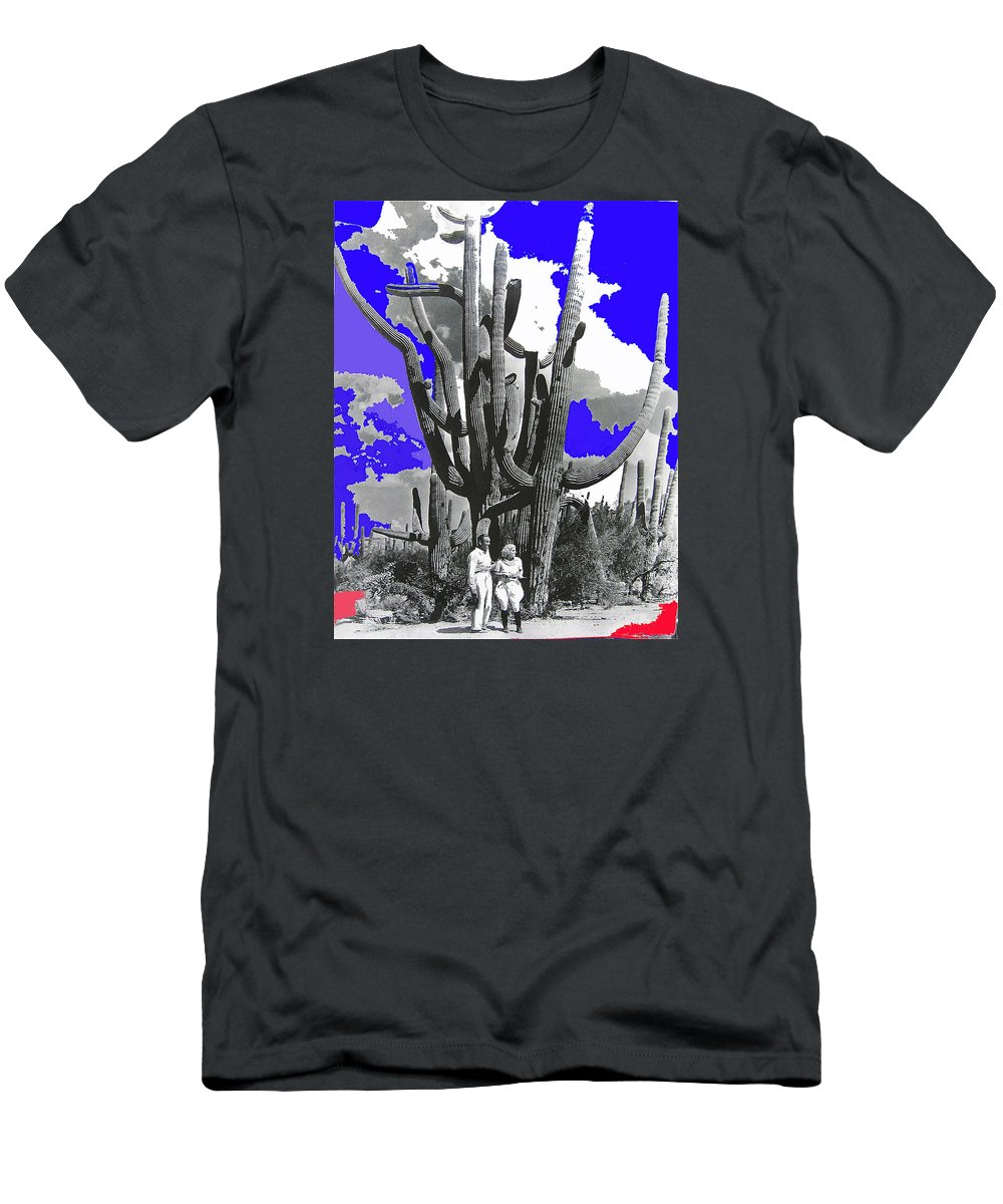 Film Homage Victor Fleming Jean Harlow Bombshell 1933 Saguaro Nat'l Monument Tucson 2008 Color Added Men's T-Shirt (Athletic Fit) featuring the photograph Film Homage Victor Fleming Jean Harlow Bombshell 1933 Saguaro Nat'l Monument Tucson 2008 by David Lee Guss