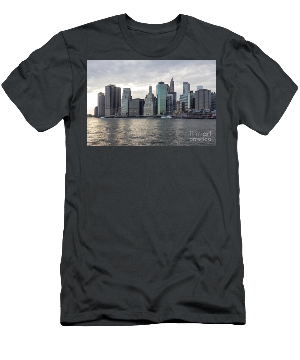 Architectural Men's T-Shirt (Athletic Fit) featuring the photograph Financial District Skyline by Jannis Werner