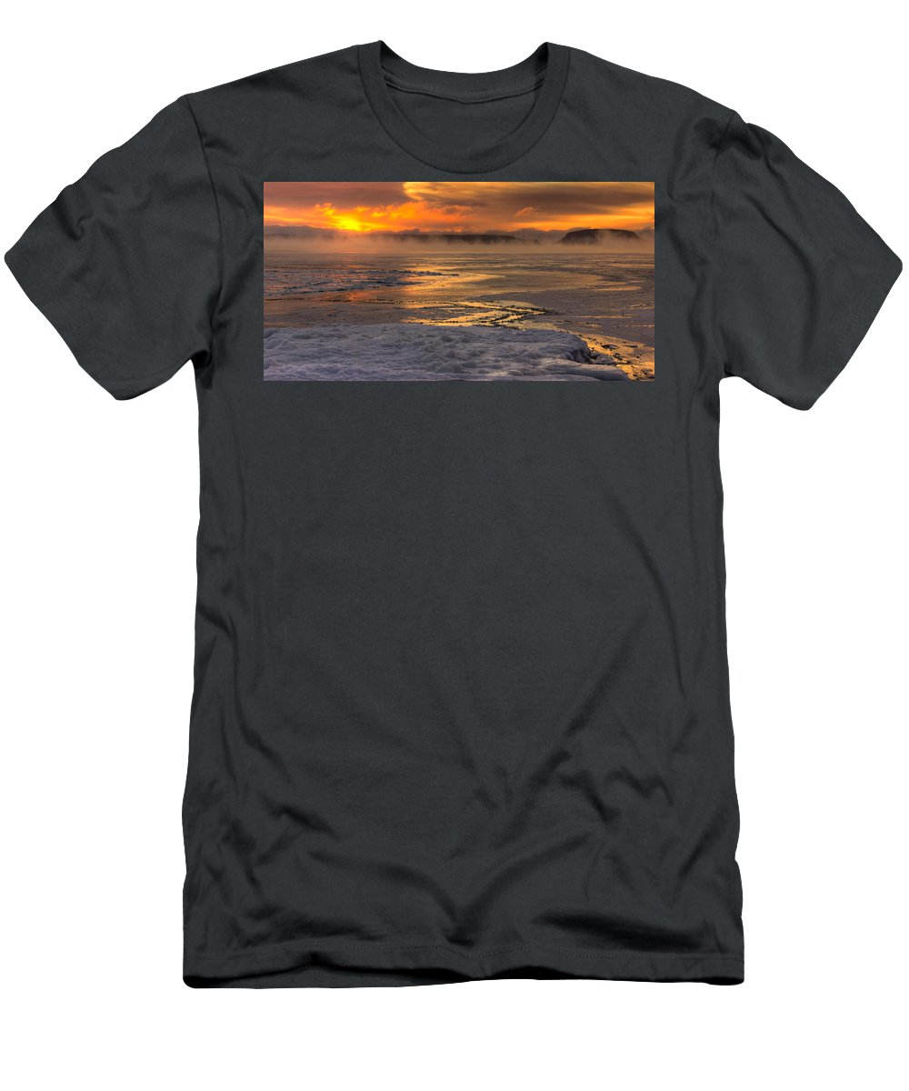 Sunrise Men's T-Shirt (Athletic Fit) featuring the photograph Fire And Ice Cropped by Jakub Sisak