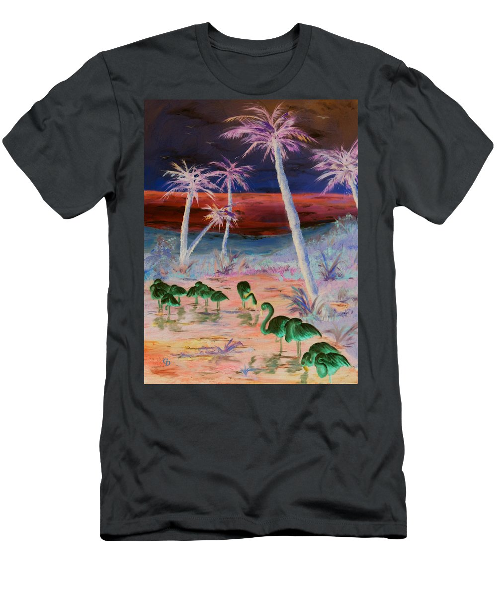 Fire Birds Men's T-Shirt (Athletic Fit) featuring the painting Fire Birds by Gail Daley