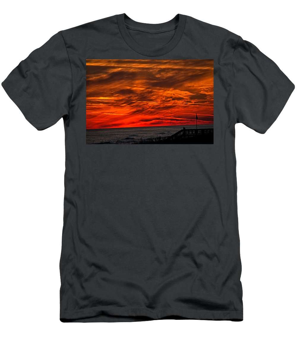 Beach Men's T-Shirt (Athletic Fit) featuring the photograph Fire In The Sky by David Campbell