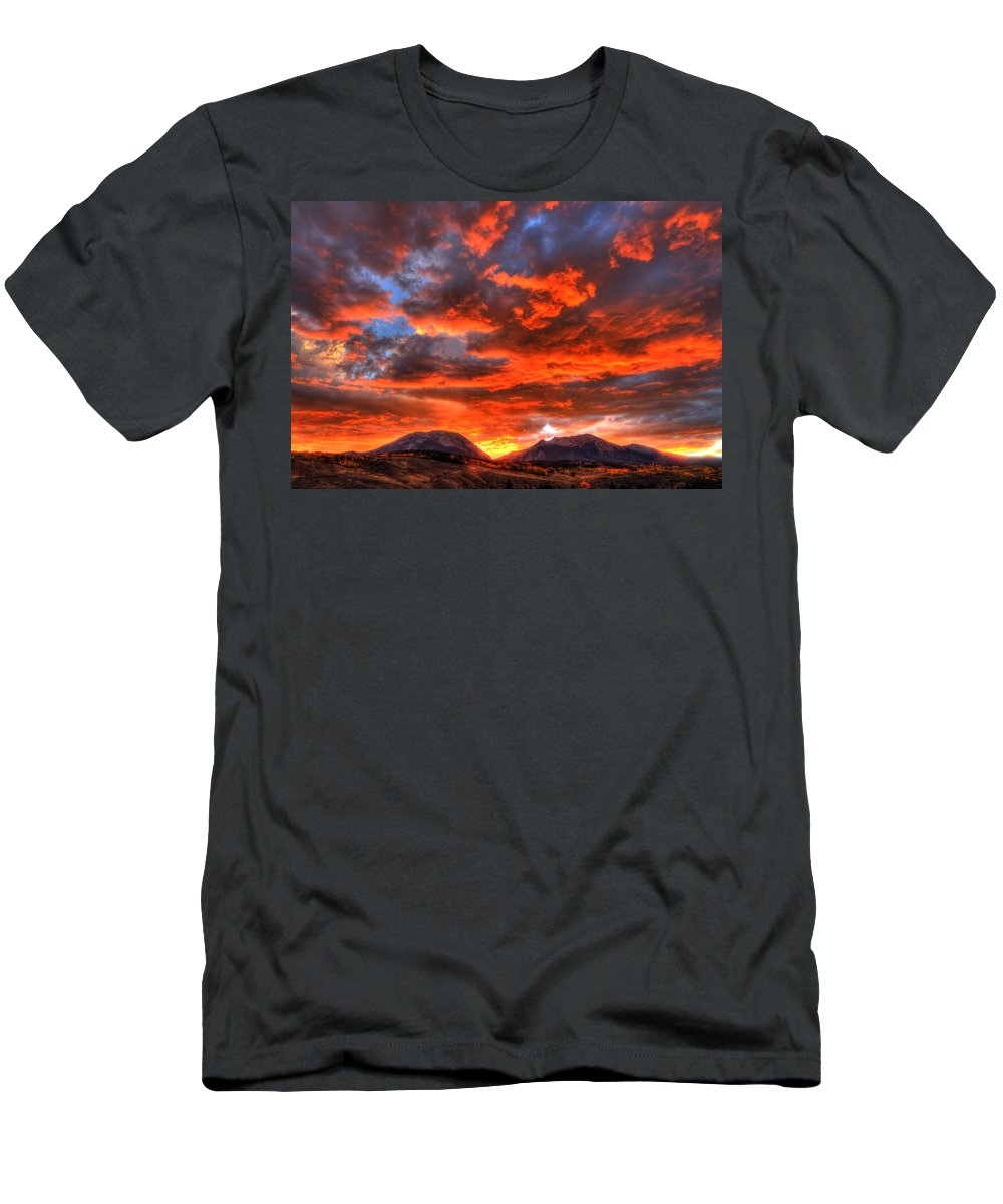 Mountain Men's T-Shirt (Athletic Fit) featuring the photograph Fire In The Sky by Scott Mahon