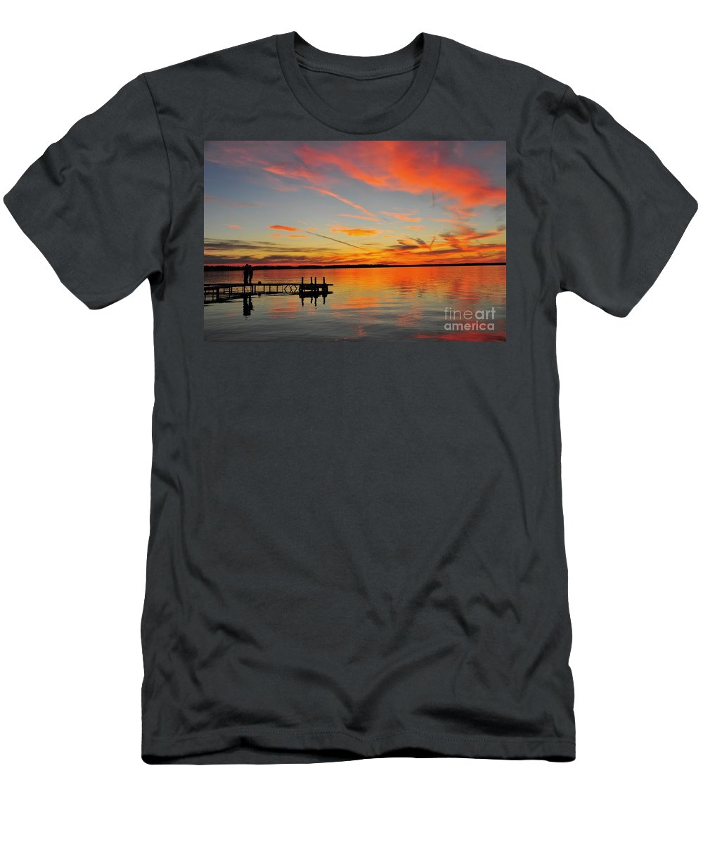 Red Men's T-Shirt (Athletic Fit) featuring the photograph Firecracker Sunset by Terri Gostola