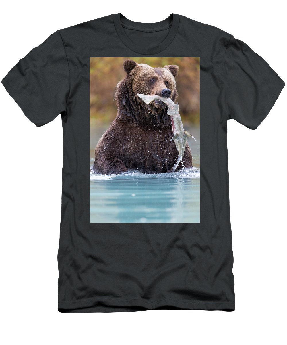 Alaska Adventure Men's T-Shirt (Athletic Fit) featuring the photograph Fish On by Rob Daugherty