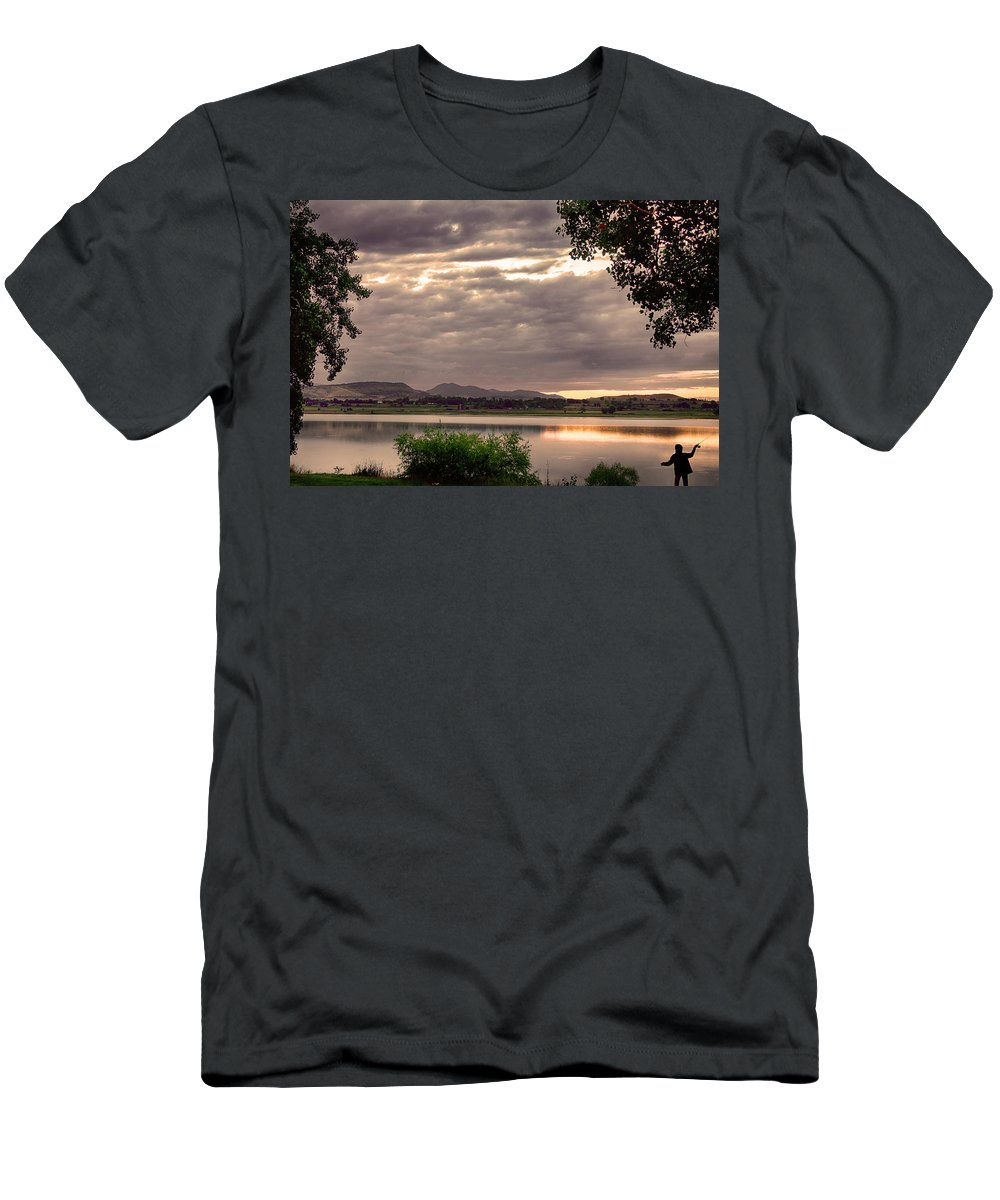 Fishing Men's T-Shirt (Athletic Fit) featuring the photograph Fisherman's Sky by James BO Insogna