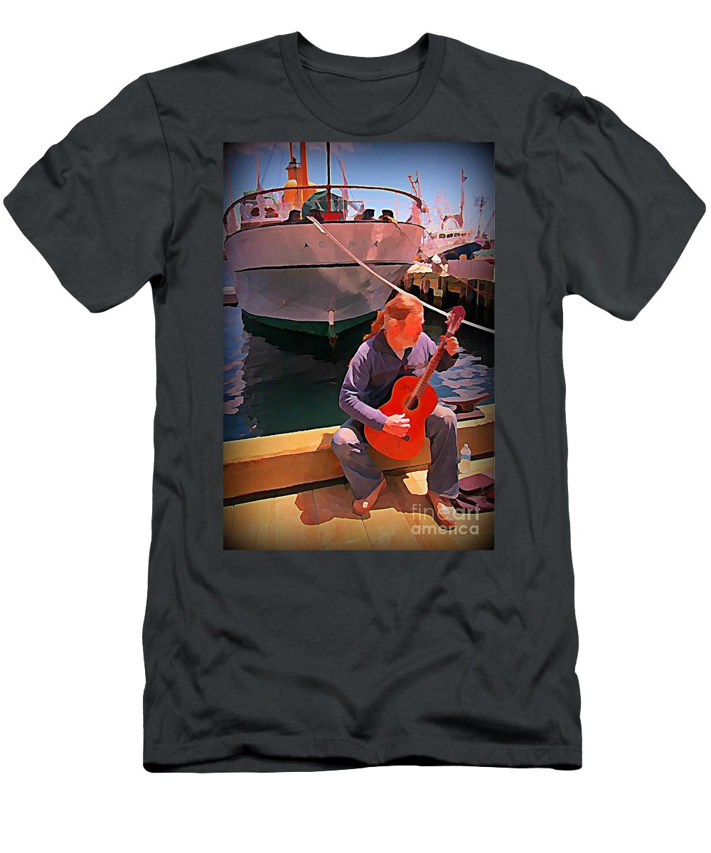 Fishermans Song Men's T-Shirt (Athletic Fit) featuring the painting Fishermans Song by John Malone