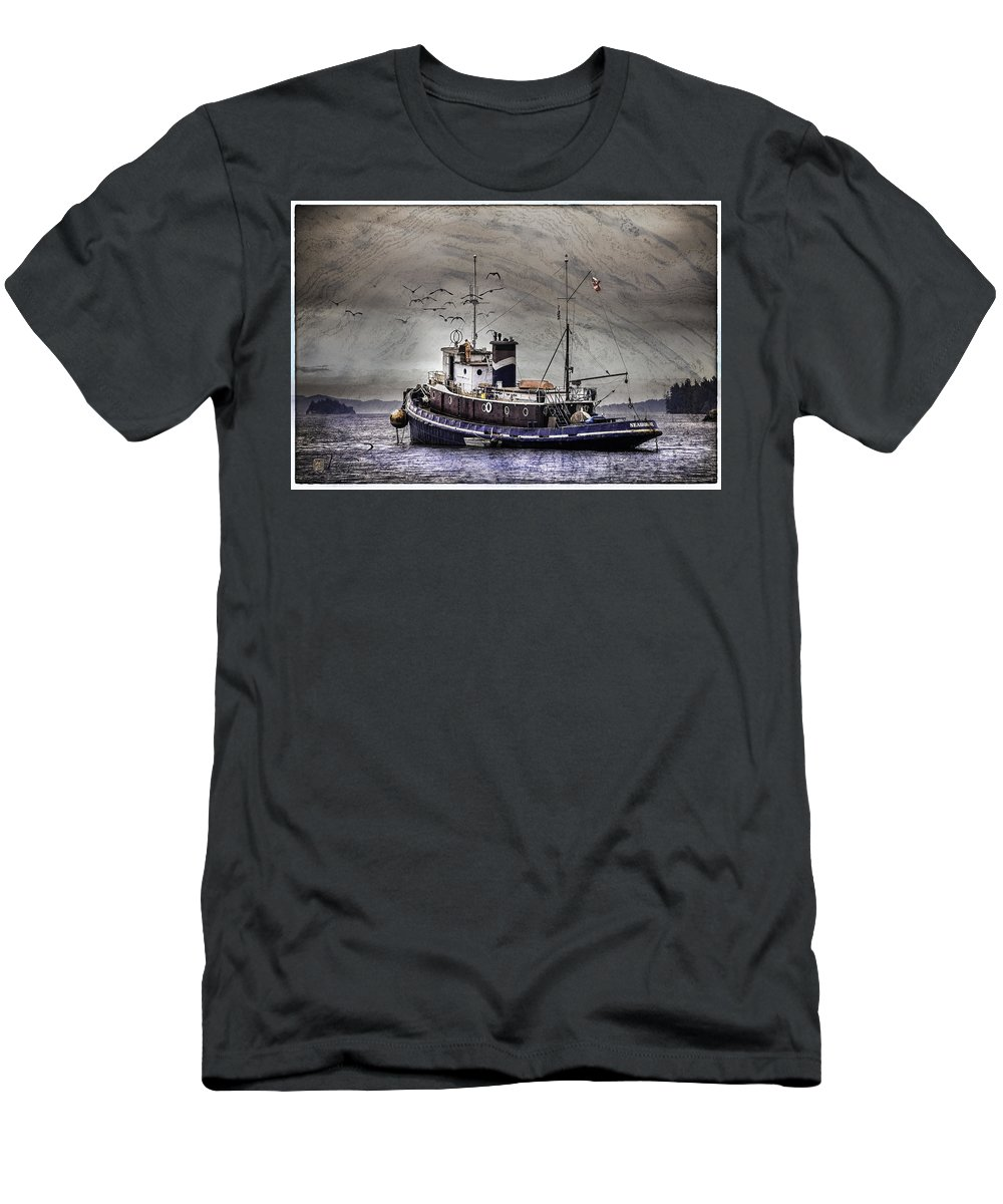 Fishing Boat Men's T-Shirt (Athletic Fit) featuring the mixed media Fishing Boat by Peter v Quenter