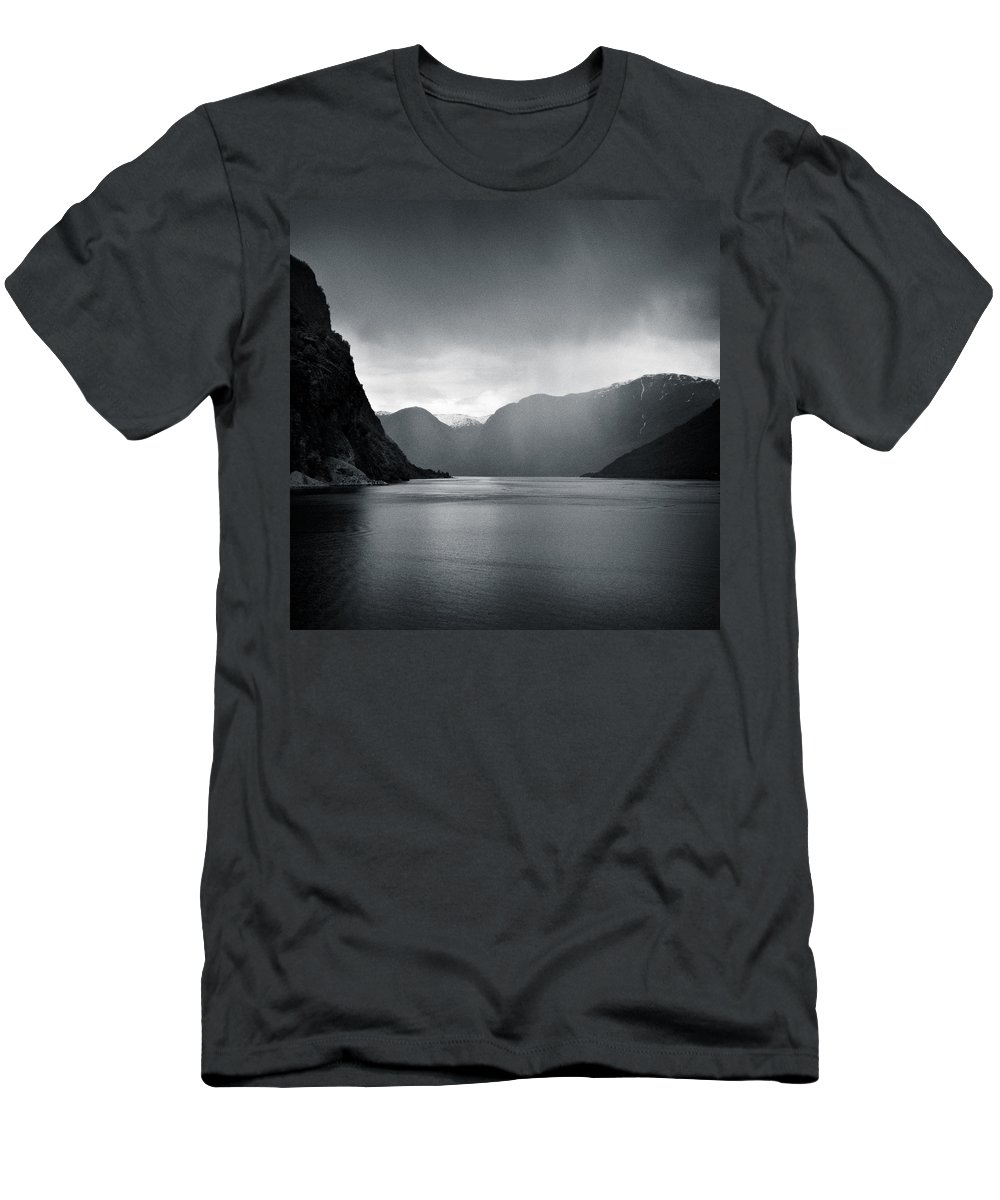 Norway Men's T-Shirt (Athletic Fit) featuring the photograph Fjord Rain by Dave Bowman
