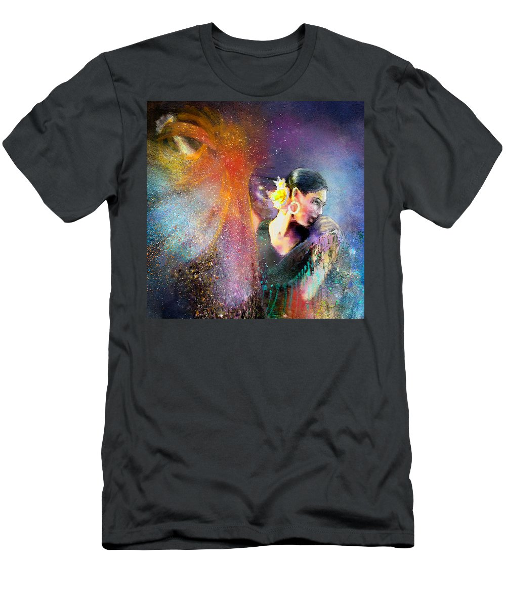 Flamenco Men's T-Shirt (Athletic Fit) featuring the painting Flamencoscape 04 by Miki De Goodaboom
