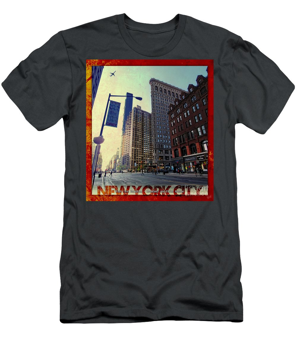 Flat Iron Building Men's T-Shirt (Athletic Fit) featuring the photograph Flat Iron Building Poster by Nishanth Gopinathan