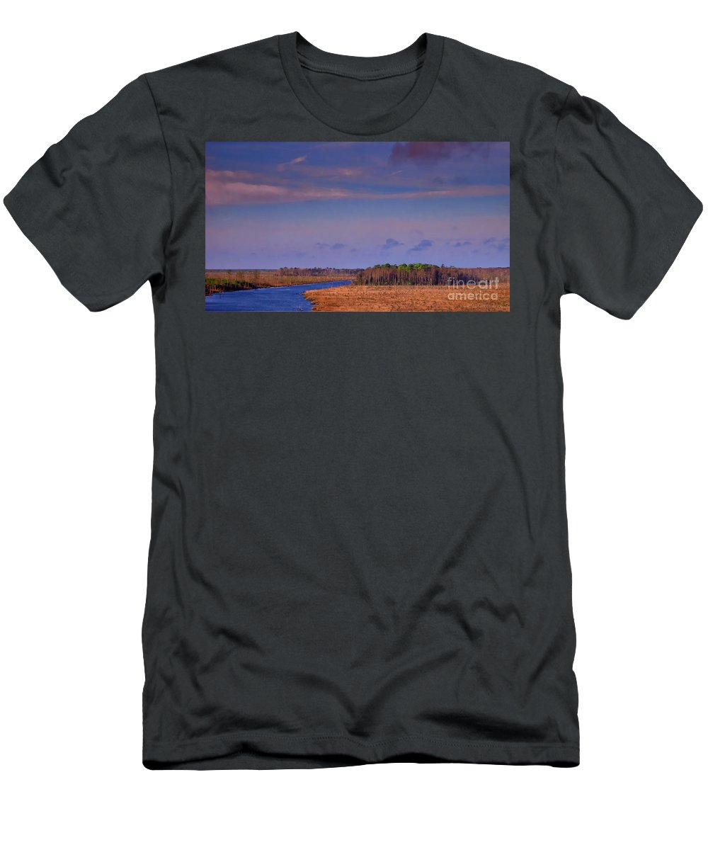 Lake Men's T-Shirt (Athletic Fit) featuring the photograph Flat Waterway by Scott Hervieux