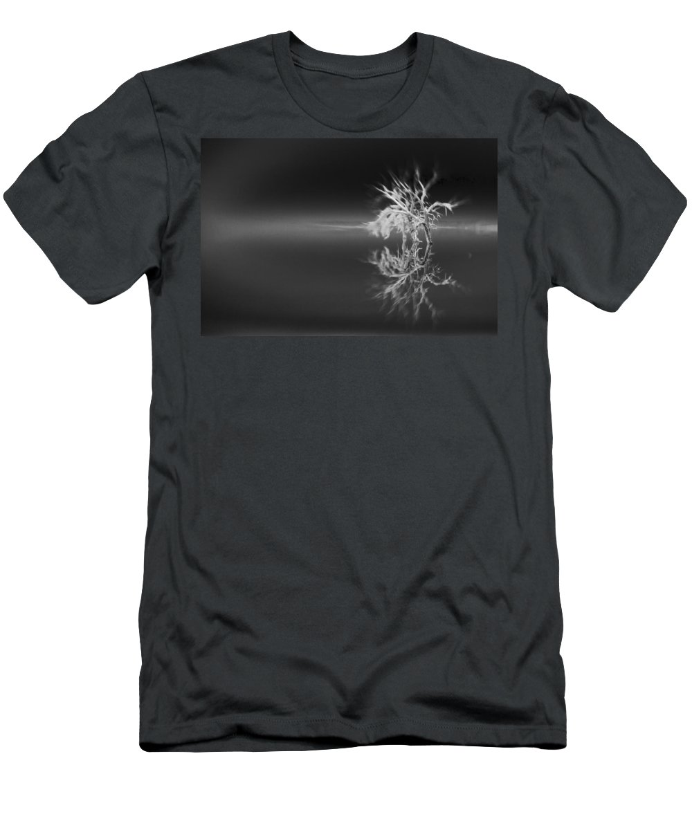 Reflection Men's T-Shirt (Athletic Fit) featuring the photograph Floating Deadwood Black And White by Scott Campbell