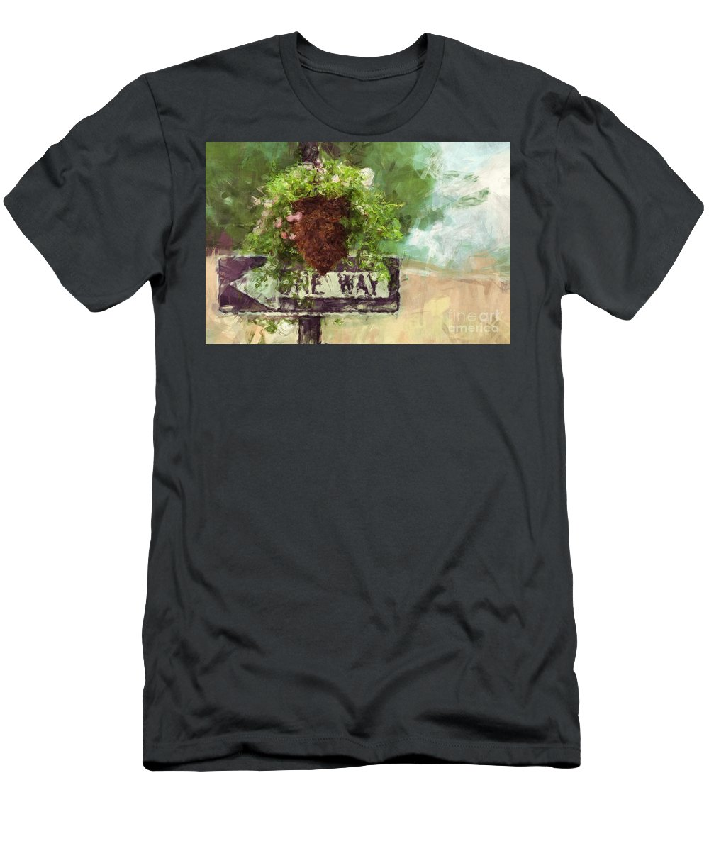Floral Men's T-Shirt (Athletic Fit) featuring the painting Floral - Flowers - One Way by Liane Wright