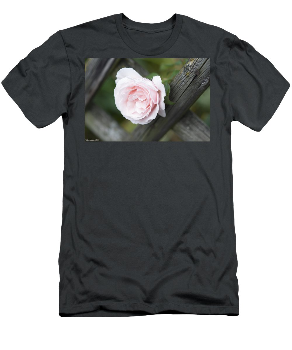 Flower Men's T-Shirt (Athletic Fit) featuring the photograph Flower Among The Fence by Miguel Winterpacht
