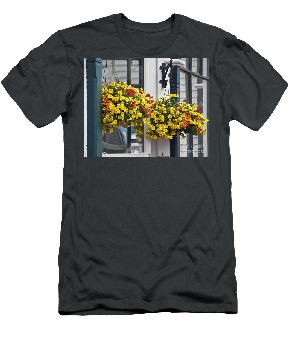 America Men's T-Shirt (Athletic Fit) featuring the photograph Flower Baskets by Howard Stapleton