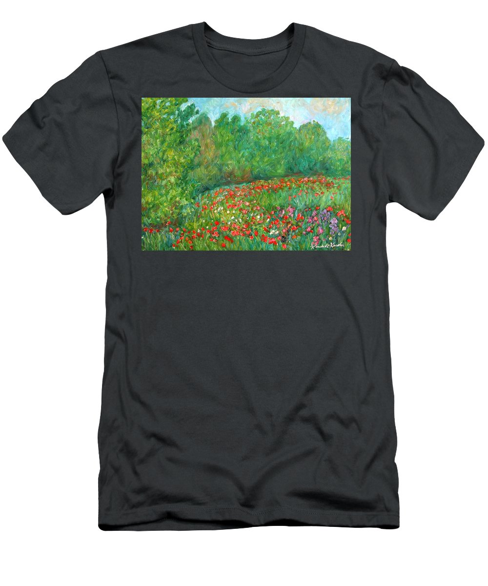 Blue Ridge Paintings Men's T-Shirt (Athletic Fit) featuring the painting Flower Field by Kendall Kessler