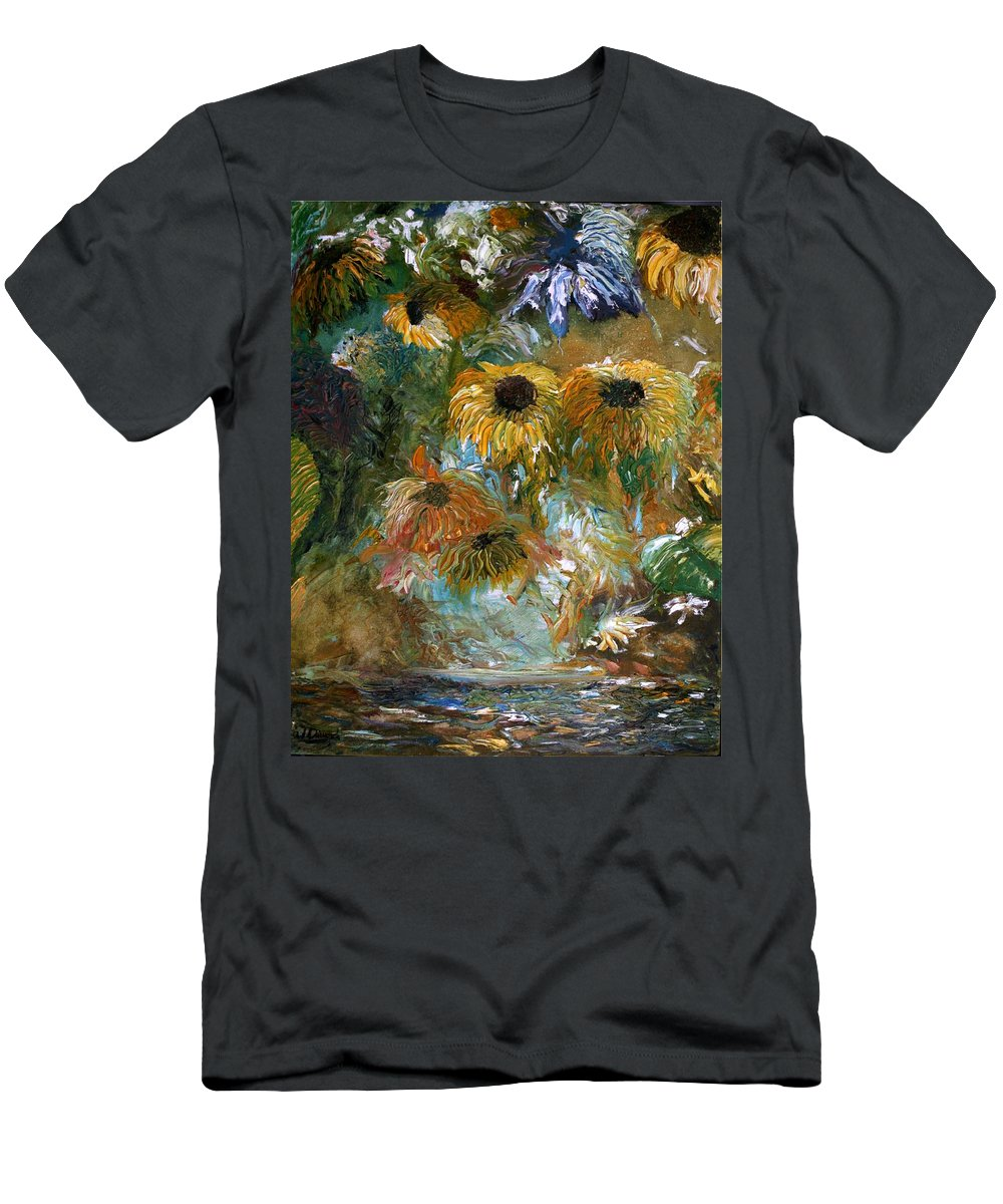 Flowers Men's T-Shirt (Athletic Fit) featuring the painting Flower Rain by Jack Diamond