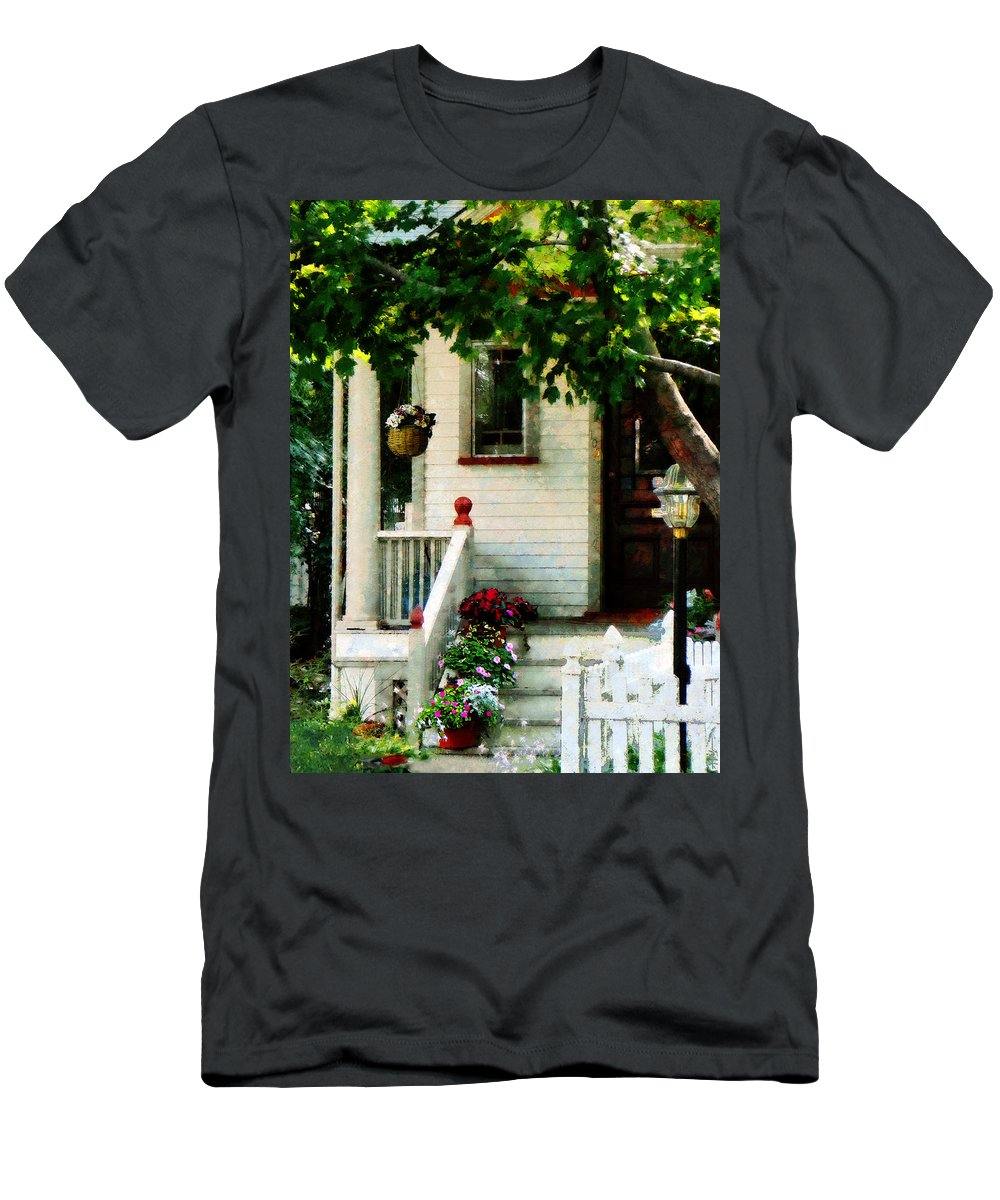 Flower Pots Men's T-Shirt (Athletic Fit) featuring the photograph Flowers On Steps by Susan Savad