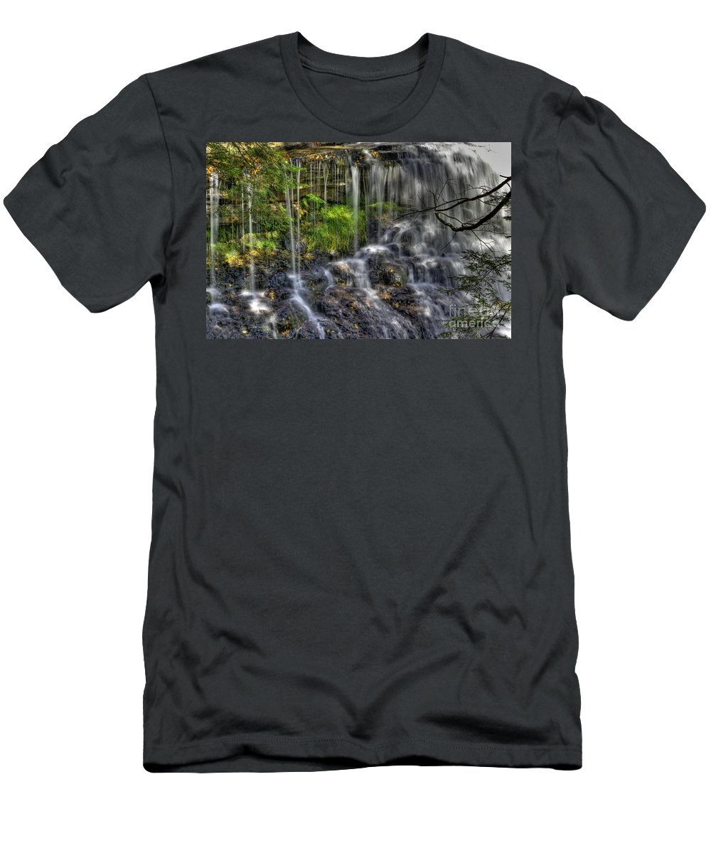Water Men's T-Shirt (Athletic Fit) featuring the photograph Flowing Water by David B Kawchak Custom Classic Photography