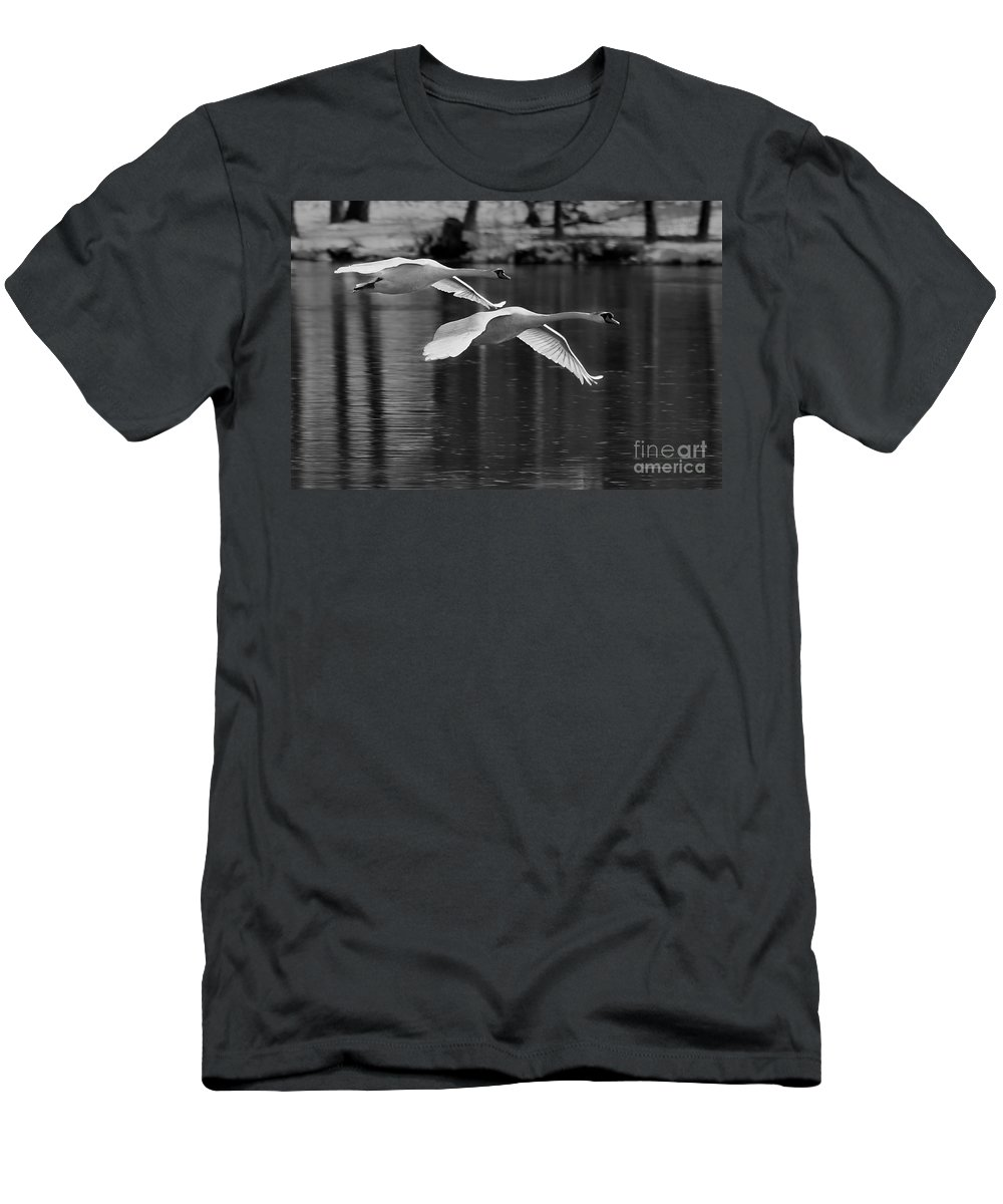 Black And White Men's T-Shirt (Athletic Fit) featuring the photograph Fly Bye by Roger Becker
