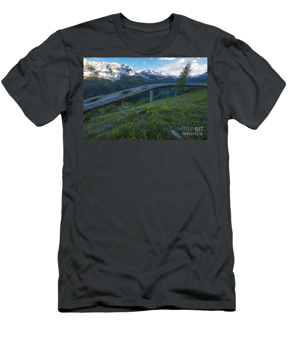 Road Men's T-Shirt (Athletic Fit) featuring the photograph Flying Road by Mats Silvan