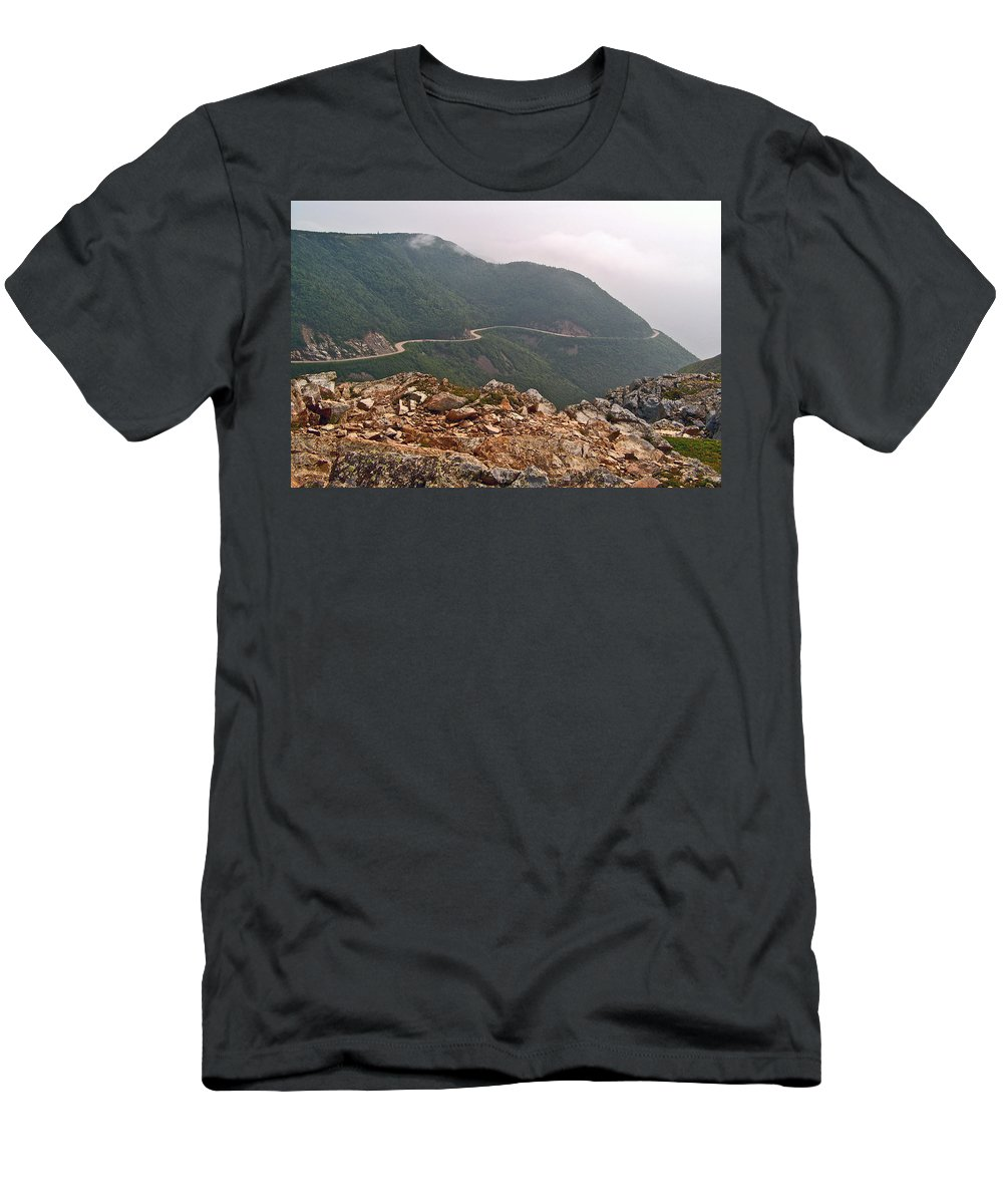 Foggy Day Road Through Cape Breton Highlands Np Men's T-Shirt (Athletic Fit) featuring the photograph Foggy Day Road Through Cape Breton Highlands Np-ns by Ruth Hager