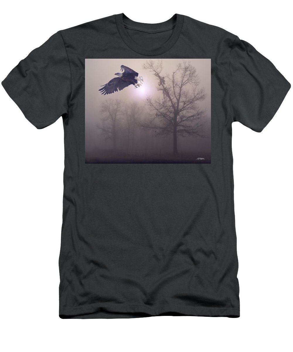 Eagles Men's T-Shirt (Athletic Fit) featuring the digital art Foggy Morning Flight by Bill Stephens