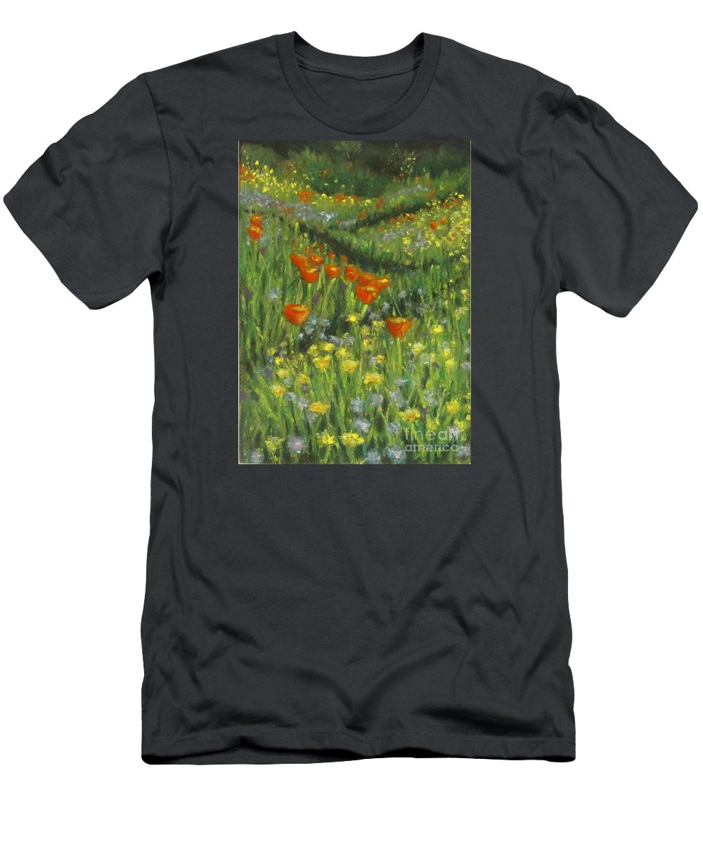 Poppy T-Shirt featuring the pastel Poppy Trail by Laurie Morgan
