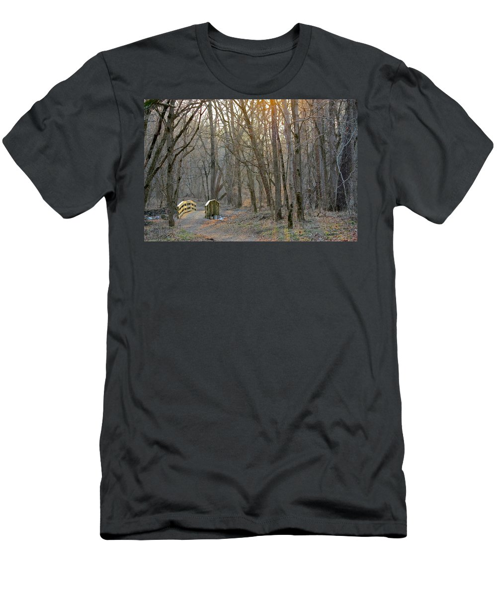 Indiana Men's T-Shirt (Athletic Fit) featuring the photograph Foot Bridge In Fort Harrison State Park by Nunweiler Photography