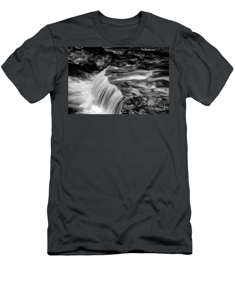 Ricketts Glen Men's T-Shirt (Athletic Fit) featuring the photograph Foot High Falls by Paul W Faust - Impressions of Light