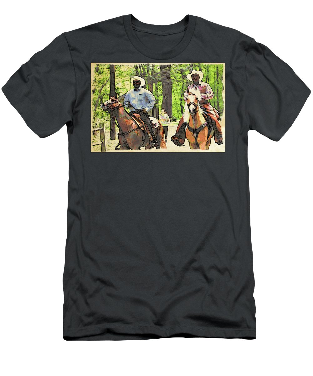 Cowboys Men's T-Shirt (Athletic Fit) featuring the photograph Forbidden Drive Cowboys by Alice Gipson