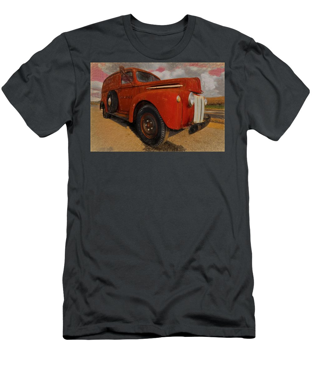 Vintage Ford Panel Truck Men's T-Shirt (Athletic Fit) featuring the photograph Ford Panel Truck by L Wright