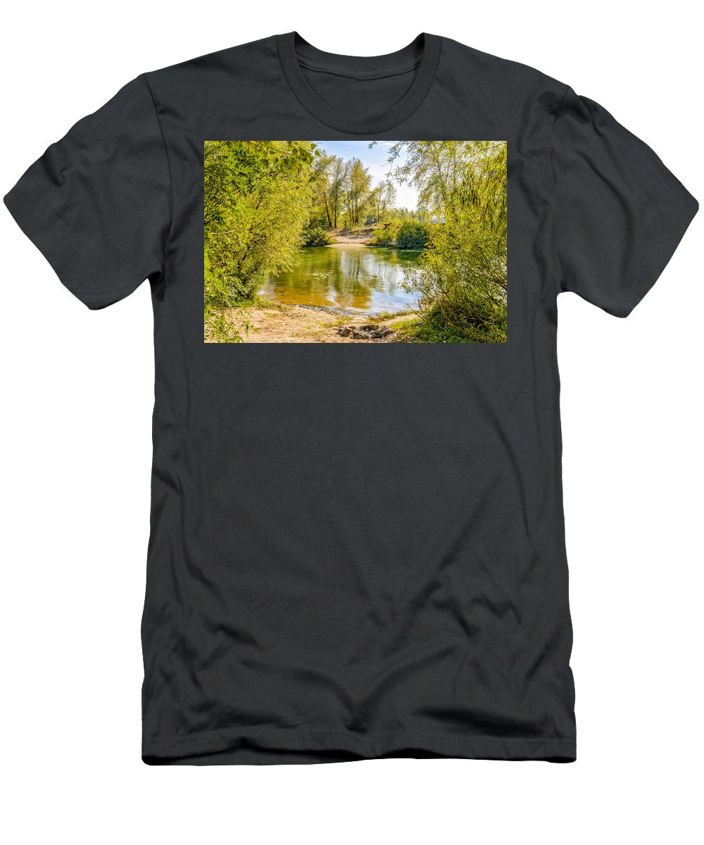 Dnieper Men's T-Shirt (Athletic Fit) featuring the photograph Ford Surrounded By Trees by Alain De Maximy