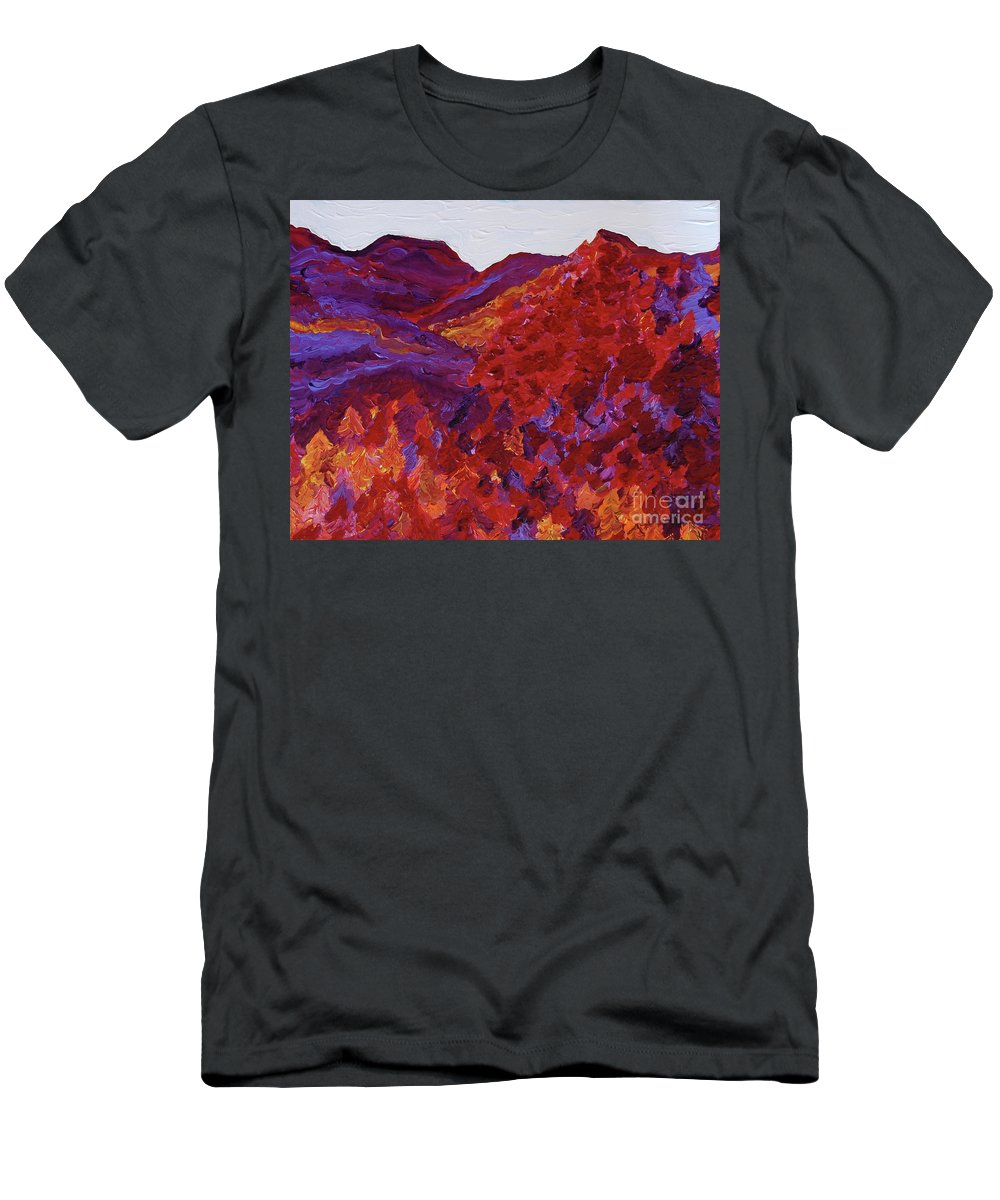 Landscape Men's T-Shirt (Athletic Fit) featuring the painting Forest Fantasy By Jrr by First Star Art