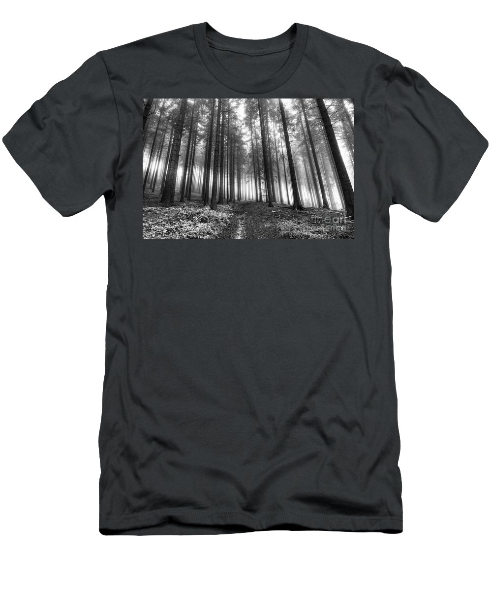 Black And White Men's T-Shirt (Athletic Fit) featuring the photograph Forest In The Mist by Michal Boubin