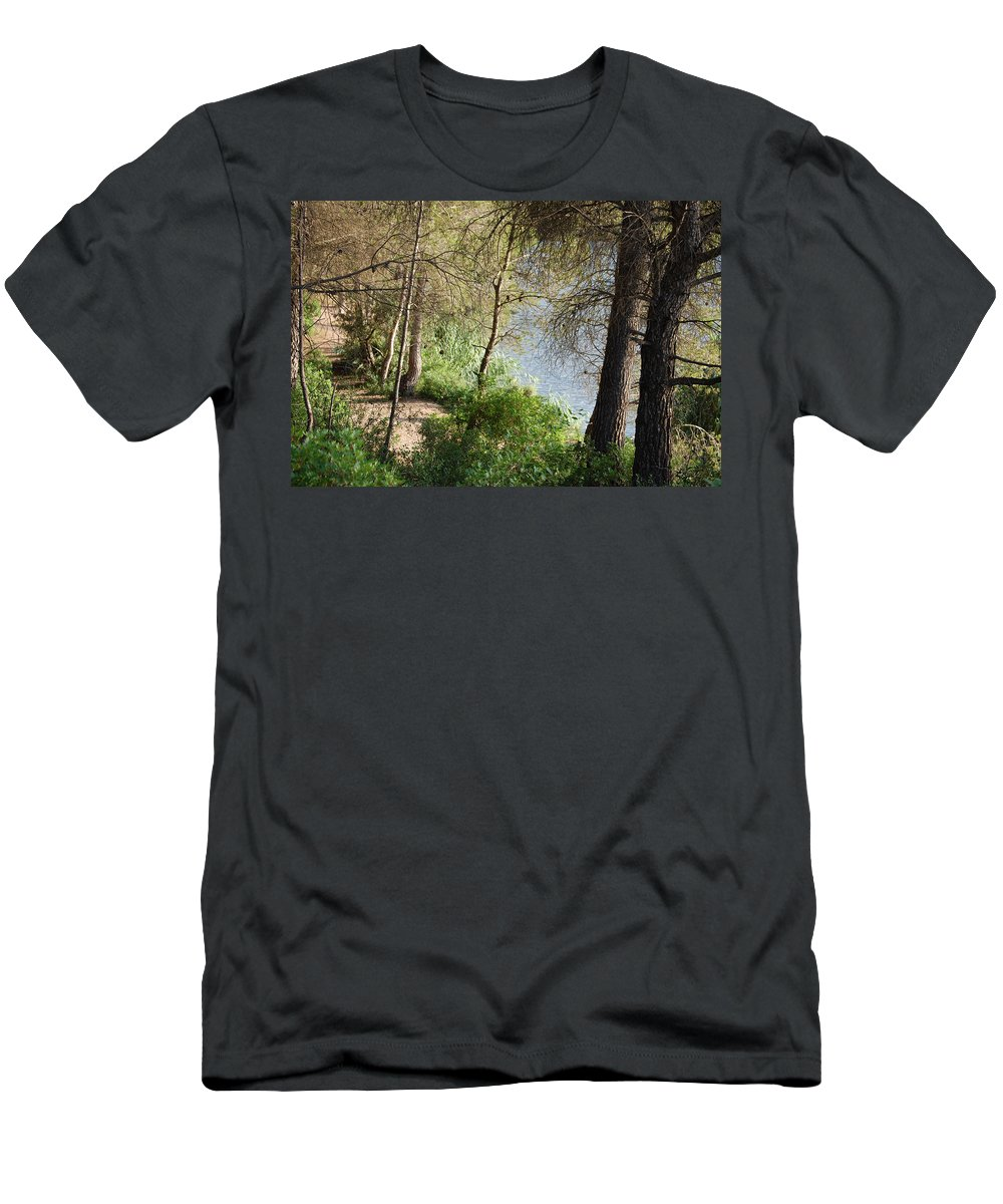 Road Men's T-Shirt (Athletic Fit) featuring the photograph Forest Road by Gina Dsgn