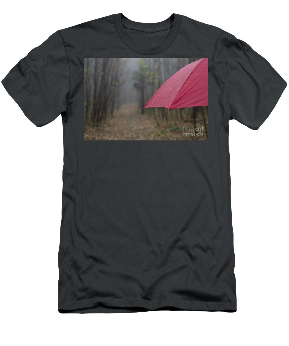 Umbrella Men's T-Shirt (Athletic Fit) featuring the photograph Forest With A Red Umbrella by Mats Silvan