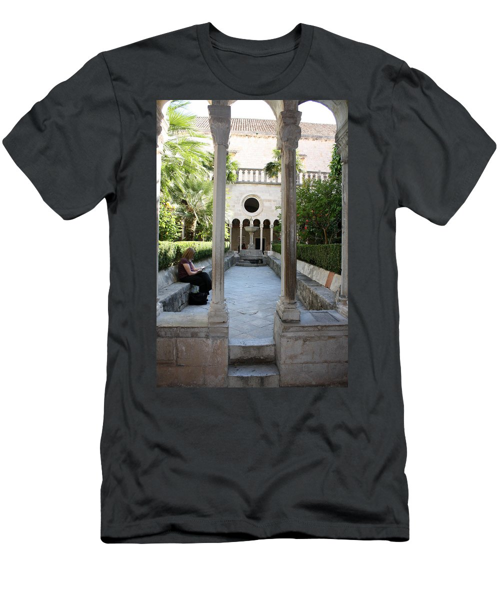 Dubrovnik Men's T-Shirt (Athletic Fit) featuring the photograph Franciscan Monastery by David Nicholls