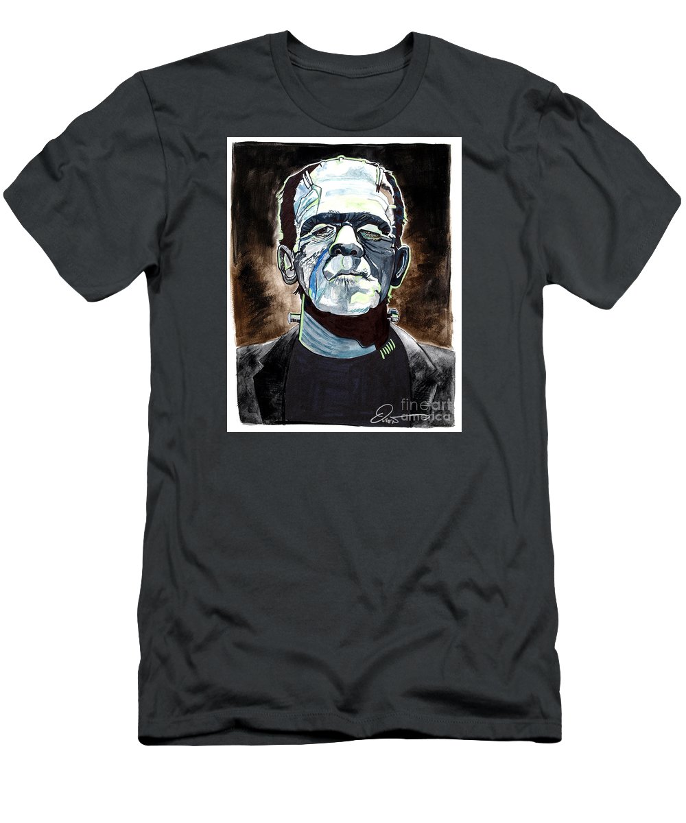 Boris Karloff Men's T-Shirt (Athletic Fit) featuring the painting Frankenstein Boris Karloff by Dave Olsen