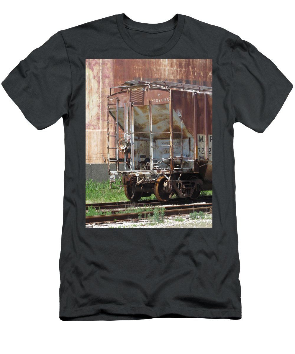 Train Men's T-Shirt (Athletic Fit) featuring the photograph Freight Train Wheels 12 by Anita Burgermeister