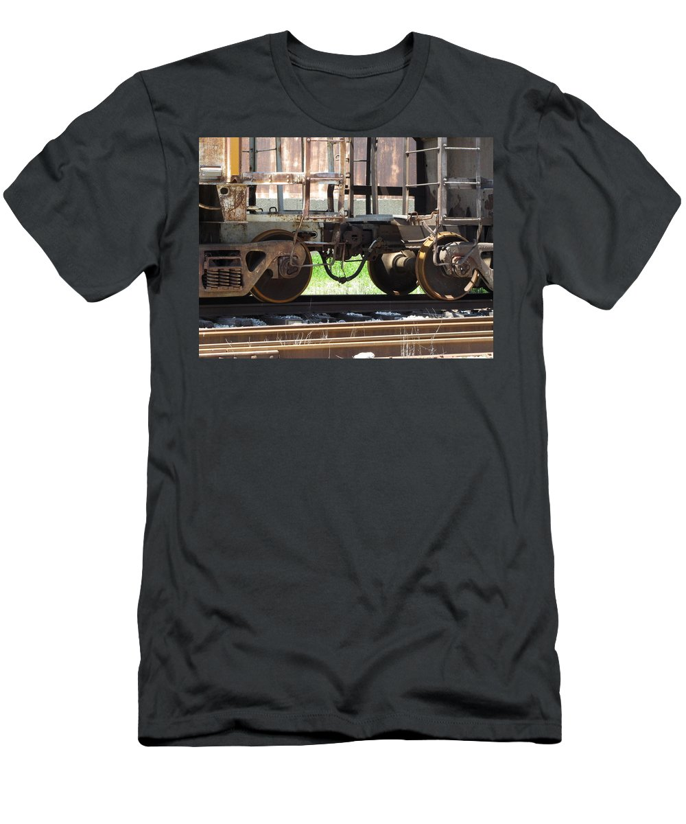 Train Men's T-Shirt (Athletic Fit) featuring the photograph Freight Train Wheels 13 by Anita Burgermeister