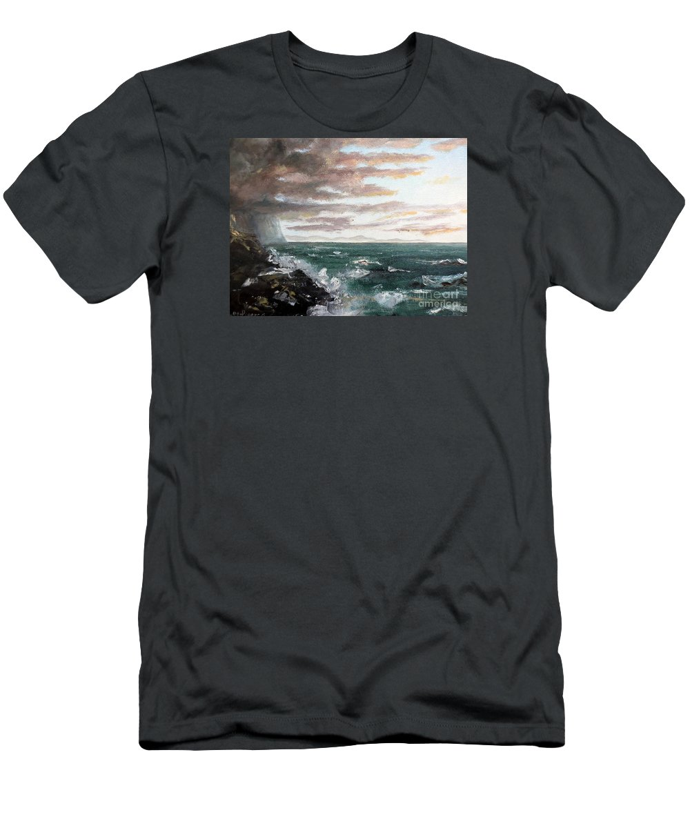 Ocean Men's T-Shirt (Athletic Fit) featuring the painting Frenchman's Bay by Lee Piper