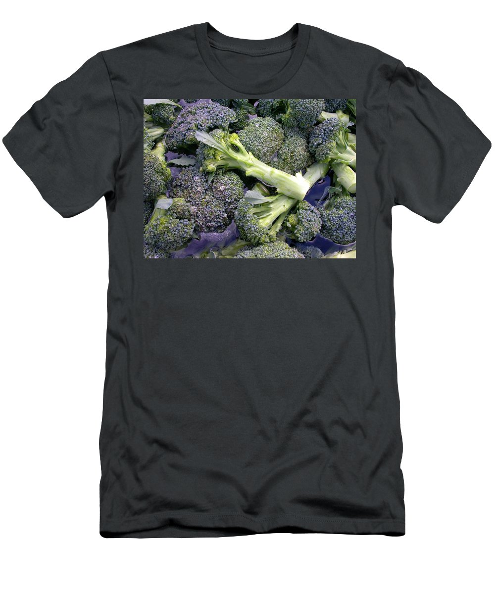 Fresh Picked Broccoli Men's T-Shirt (Athletic Fit) featuring the photograph Fresh Broccoli by Cynthia Wallentine
