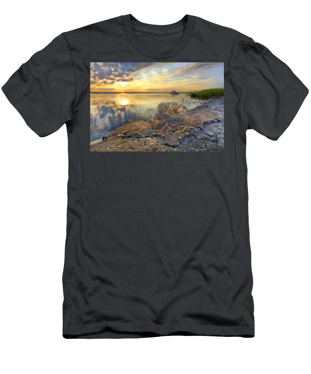Clouds Men's T-Shirt (Athletic Fit) featuring the photograph Fresh Water by Debra and Dave Vanderlaan
