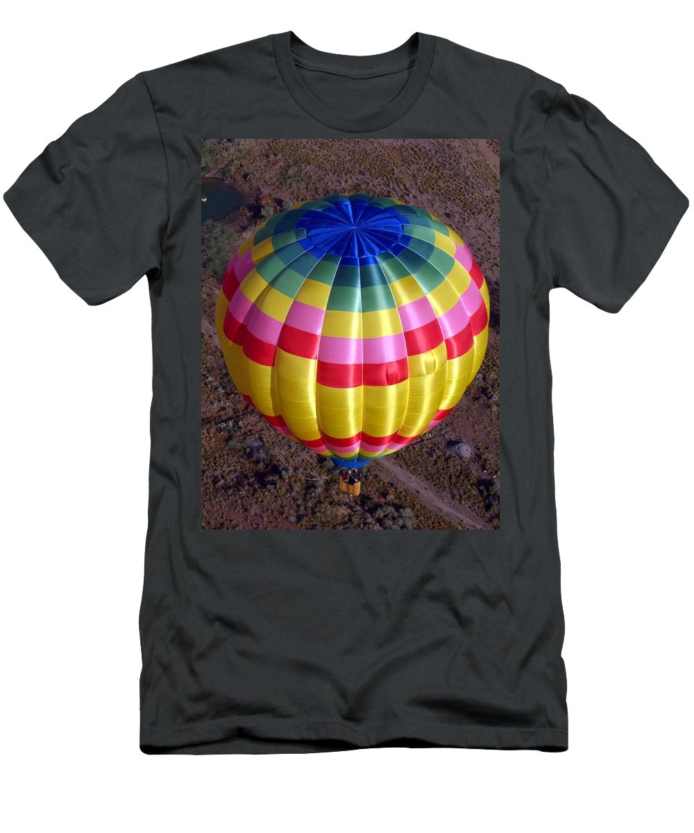 Hot Air Balloon Men's T-Shirt (Athletic Fit) featuring the photograph From Above by Mary Rogers